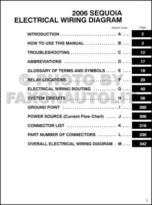 2006 Toyota Sequoia Wiring Diagram Manual Original