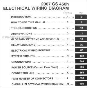 2007 Lexus GS 450H Wiring Diagram Manual Original