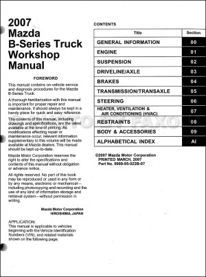 2007 Mazda BSeries Truck Repair Shop Manual Original