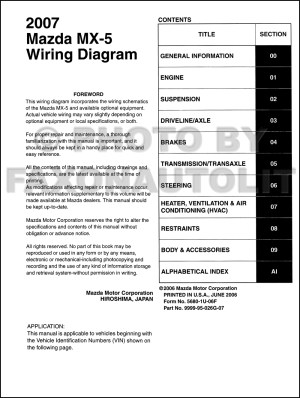 2007 Mazda MX5 Miata Wiring Diagram Manual Original