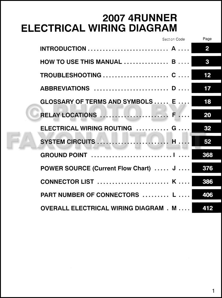 Toyota 4runner Wiring Diagram Manual Original