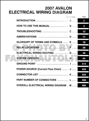 2007 Toyota Avalon Wiring Diagram Manual Original