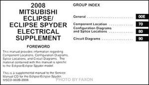 2008 Mitsubishi Eclipse & Spyder Wiring Diagram Manual Original
