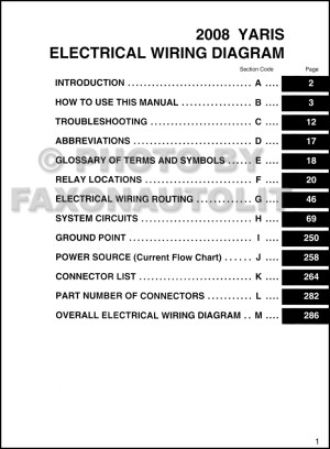 2008 Toyota Yaris Wiring Diagram Manual Original