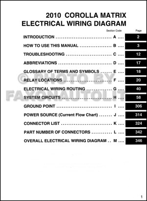 2010 Toyota Matrix Wiring Diagram Manual Original