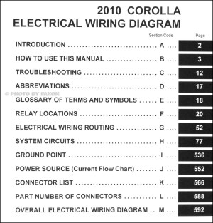 2010 Toyota Corolla Wiring Diagram Manual Original