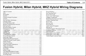 2011 HYBRID Ford Fusion Mercury Milan Lincoln MKZ Wiring
