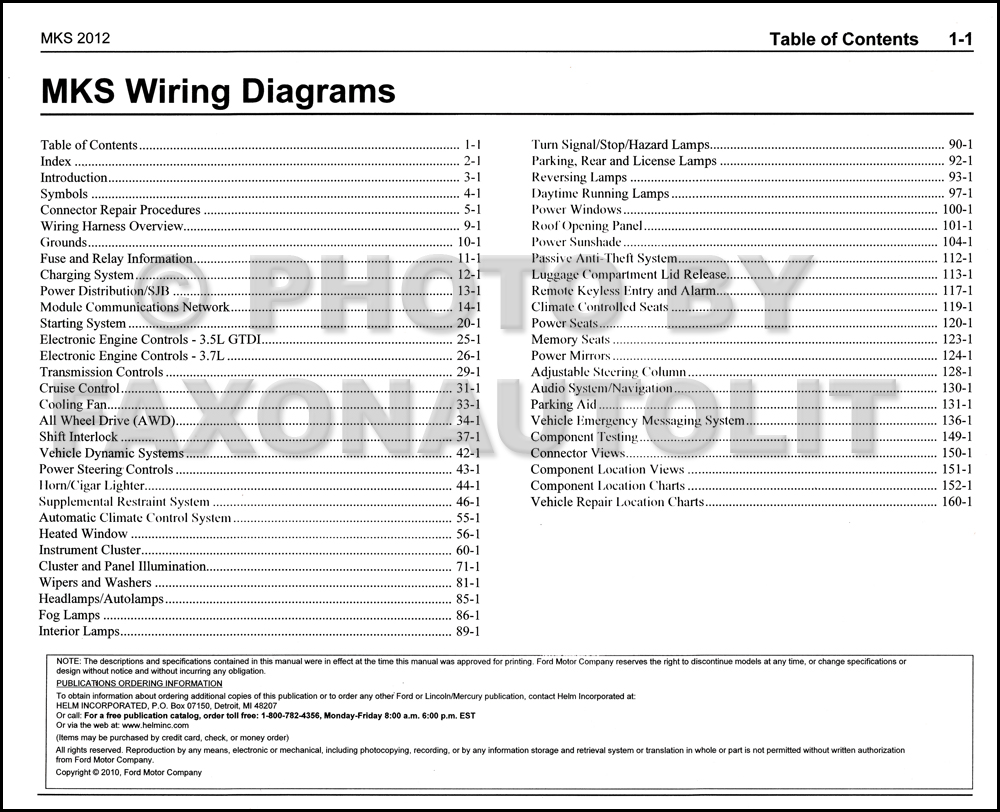2012 Lincoln MKS Wiring Diagram Manual Original