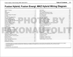 2013 Ford Fusion Energi Lincoln MKZ HYBRID Wiring Diagram