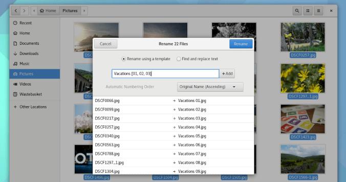 Batch File renaming in GNOME 3.22