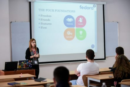 Mariana Balla, a Fedora contributor, introduces the Fedora Project to Linux Weekend 2017 attendees in Tirana, Albania