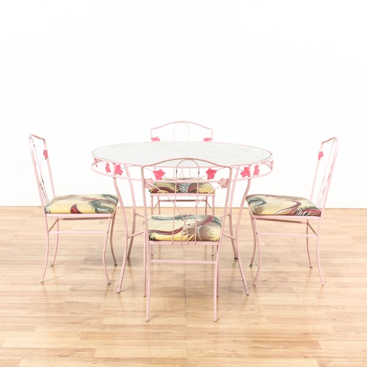 retro pink patio table 4 pink chairs loveseat com los angeles