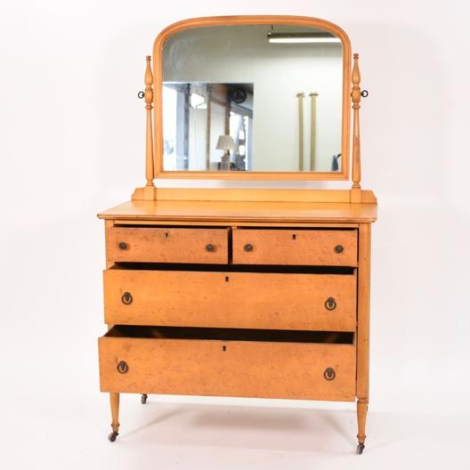 Antique 4 Drawer Dresser W Mirror Toll