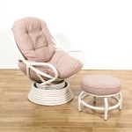 White Rattan Swivel Chair Ottoman Loveseat Online Auctions Los Angeles