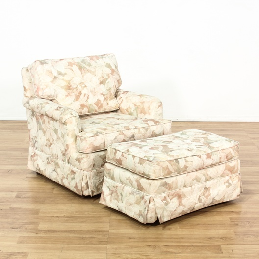 Cottage Chic Floral Print Armchair Amp Ottoman Loveseat
