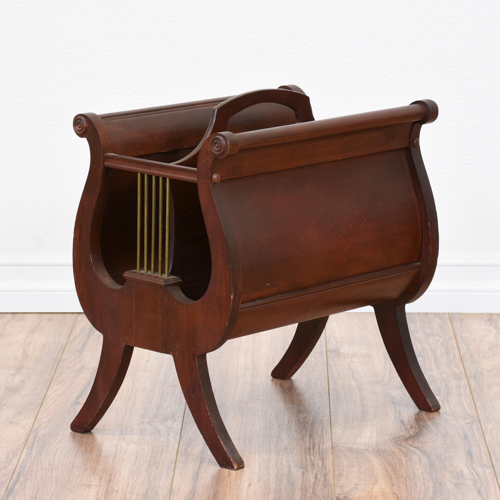 mahogany lyre magazine rack loveseat