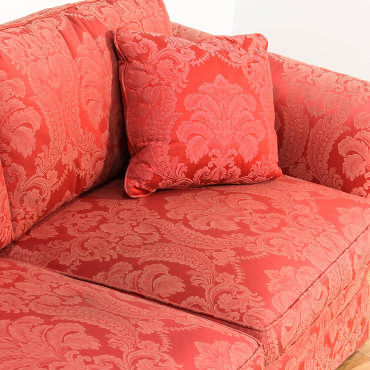 A lot goes into a sofa that's both stylish and comfortable to revisit this article, visit my profile, thenview saved stories. Red Damask Upholstered Sofa & 4 Pillows | Loveseat Online ...