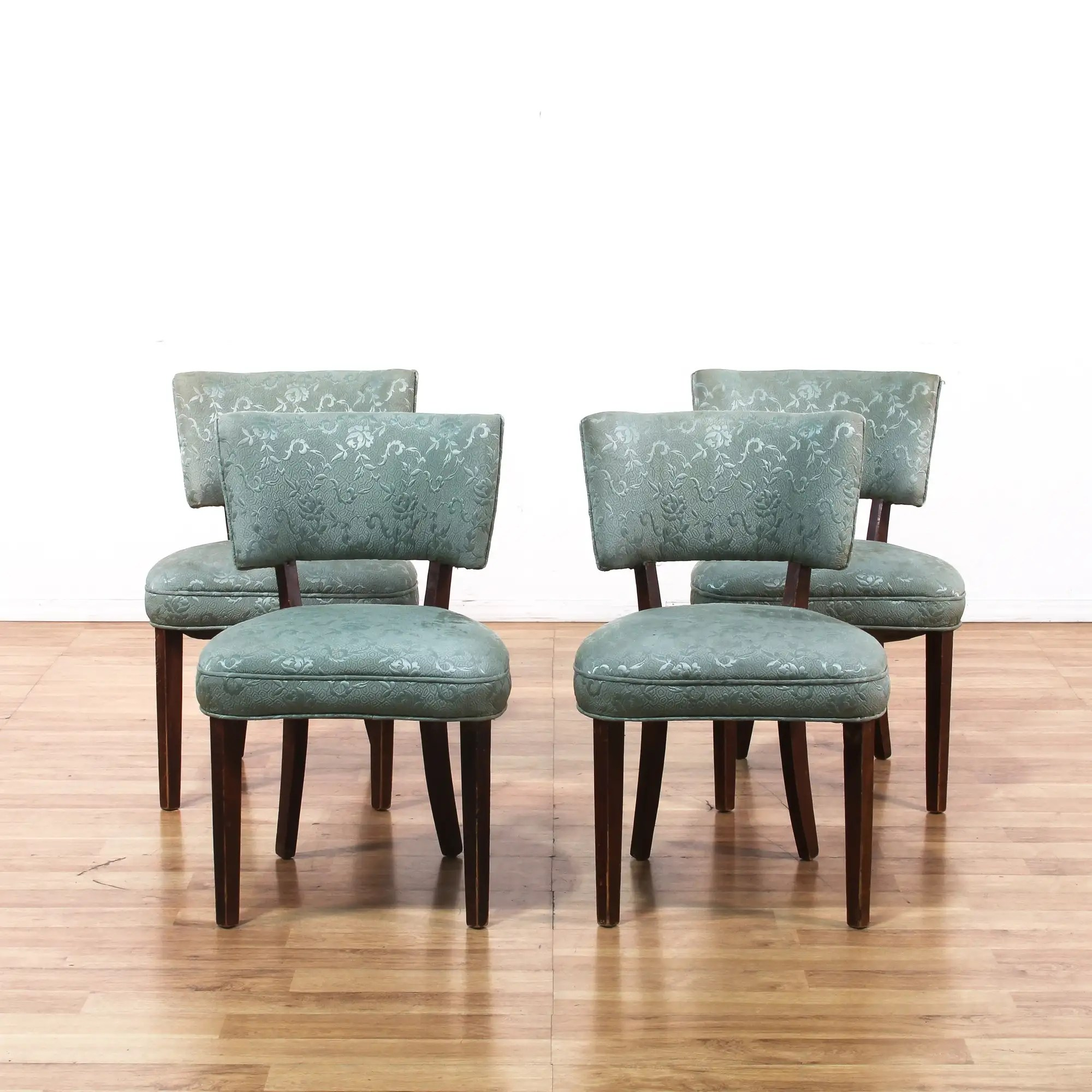 Set Of 4 Blue Floral Upholstered Dining Chairs Loveseat Online Auctions Los Angeles