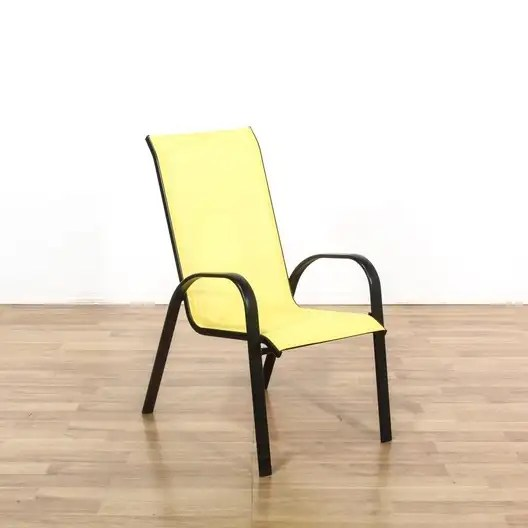 set of 4 black yellow metal outdoor patio chairs loveseat com los angeles