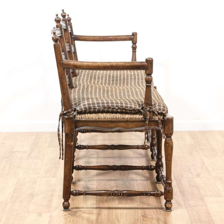 ladderback country farmhouse settee sofa loveseat on country farmhouse furniture id=55717