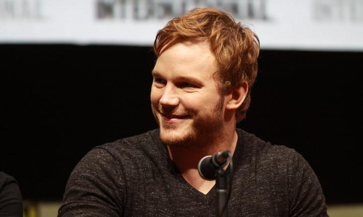 Chris Pratt behind the microphone