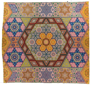 Hexagon Mosaic, Made by Grace McCance Snyder, Dated 1940, 99 x 102 in, IQSC 2009.032.0002