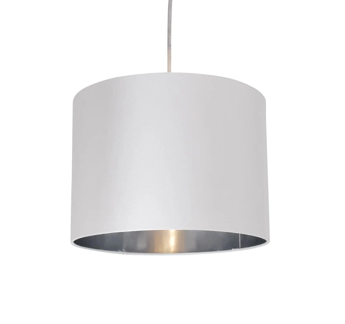 White Fabric 30cm Drum Light Shade With Chrome Inner