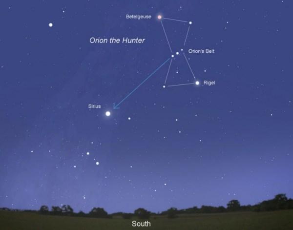 Звезда Сириус-бриллиант ночного неба
