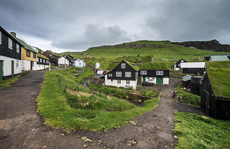 Мичинес, Фарерские острова  дом, крыша, озеленение, скандинавия