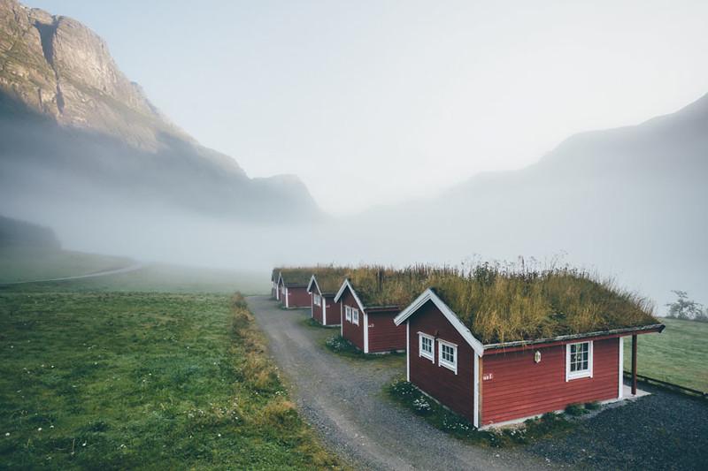 Олден, Норвегия  дом, крыша, озеленение, скандинавия