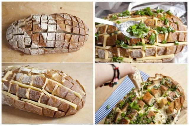 Это совсем просто - хлеб порезали, сыра напихали, зелень с яйцом перемешали, залили и в духовку. Просто, вкусно, еда, завтраки