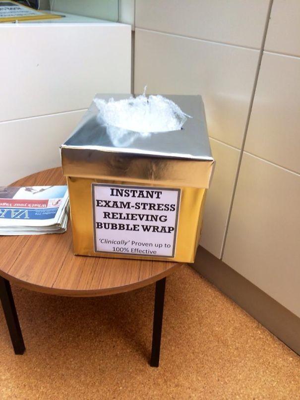 Университет помогает студентам преодолеть стресс на экзаменах – коробка с бесплатной пузырчатой пленкой гениально, изобретения, подборка, студенты, школа