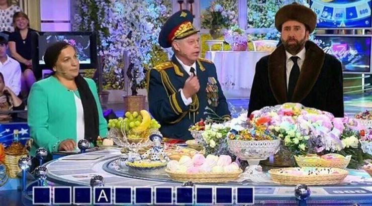 Ходят слухи, что актер, в своем новом наряде, теперь отправился в гости к Якубовичу  казахстан, николас кейдж, прикол, соцсети, фотожаба, юмор