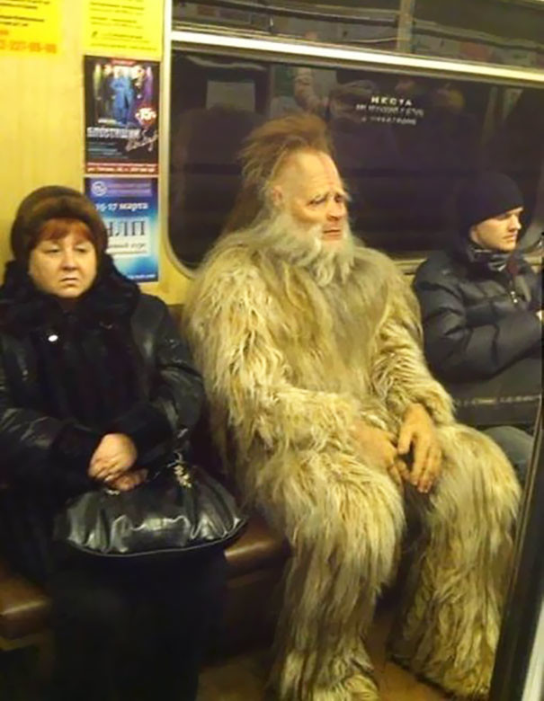 Йети объявился  люди, метро, мир, подземка, прикол, фото, фрик, юмор