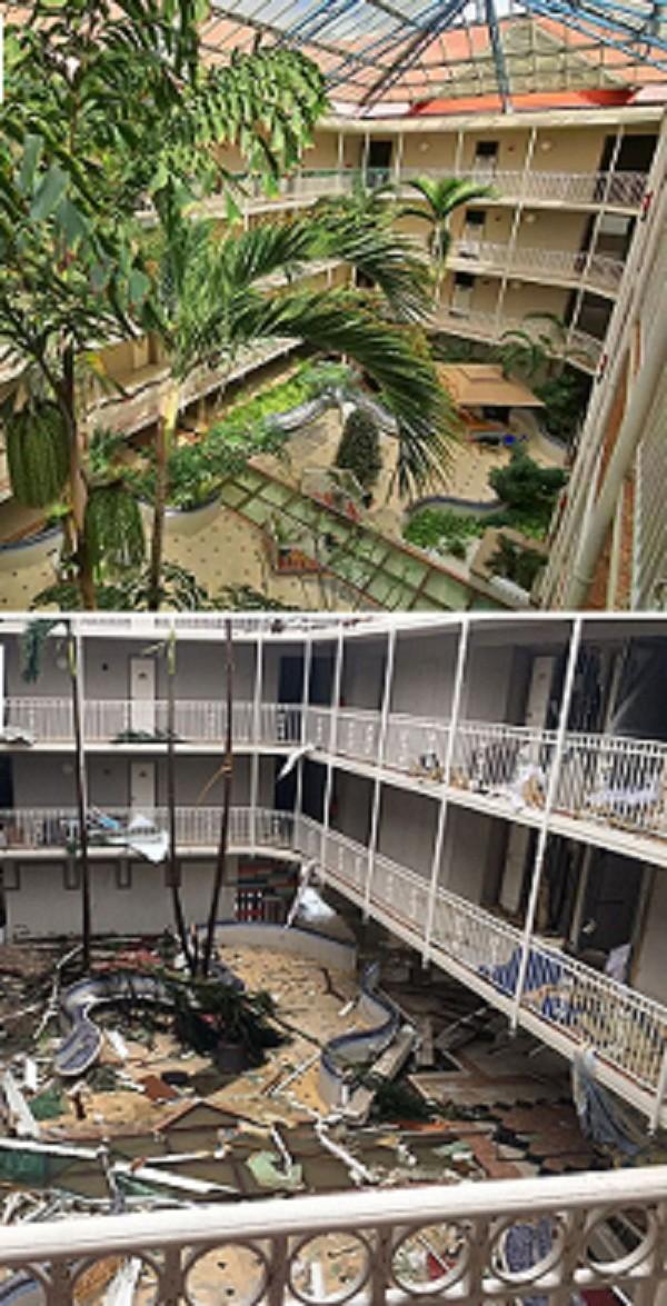 """Отель """"Бич Плаза"""" на острове Сен-Мартен до и после удара стихии Центральная Америка, ирма, катастрофа, разрушения, стихийное бедствие, стихия, ураган, флорида"""