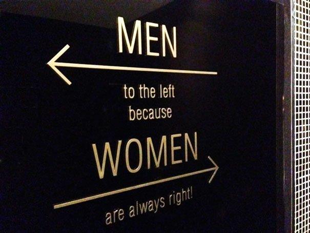 Мужчины налево, потому что женщины всегда правы! комната для девочек, смешно, туалетные таблички, уборная, указатели, юмор