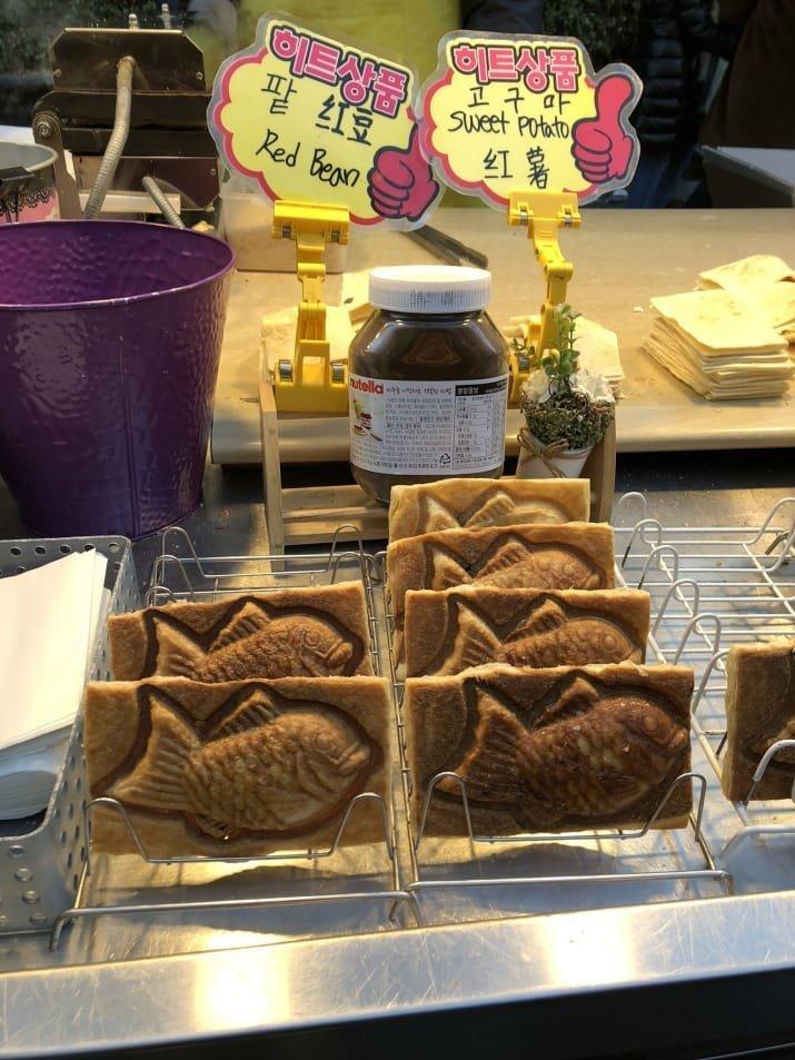 13. Тайяки - японское печенье с начинкой: $3 еда, еда быстро, сеул, уличная Еда, уличная еда, фастфуд, южная корея