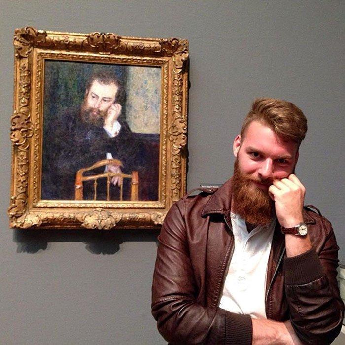 7. Борода оказалась очень к месту. Веселые, музей, портрет, произведение искусства, реинкарнация, фантазия