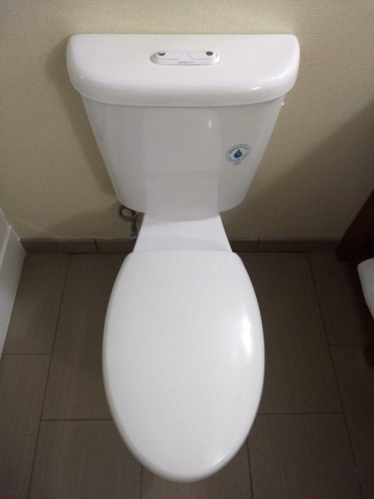 Отельный унитаз с двумя кнопками, которые обозначают разный расход воды для смыва