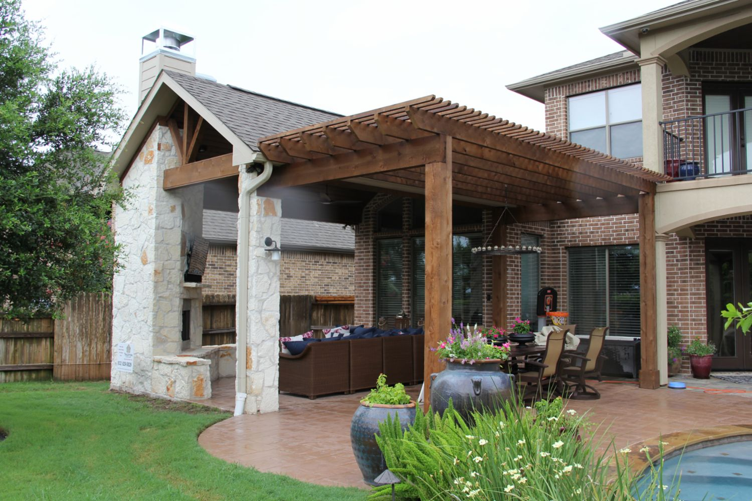 Patio Covers, Outdoor Kitchens, Fire Features in Katy, TX ... on Covered Outdoor Kitchen With Fireplace id=98164