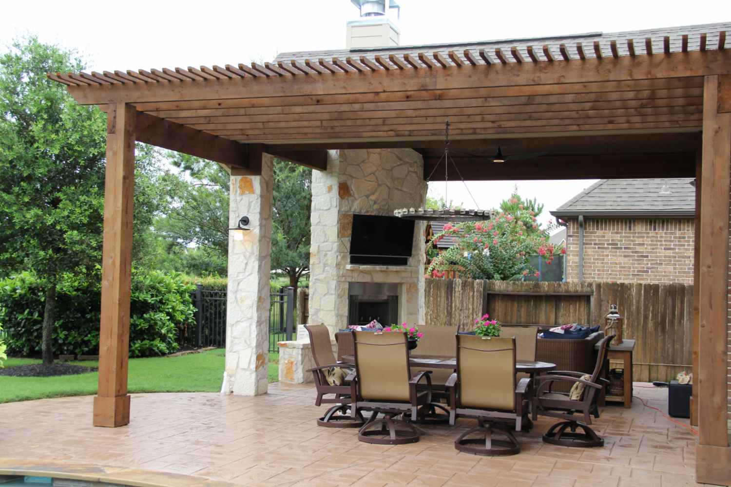 Patio Covers, Outdoor Kitchens, Fire Features in Katy, TX ... on Covered Outdoor Kitchen With Fireplace id=15816