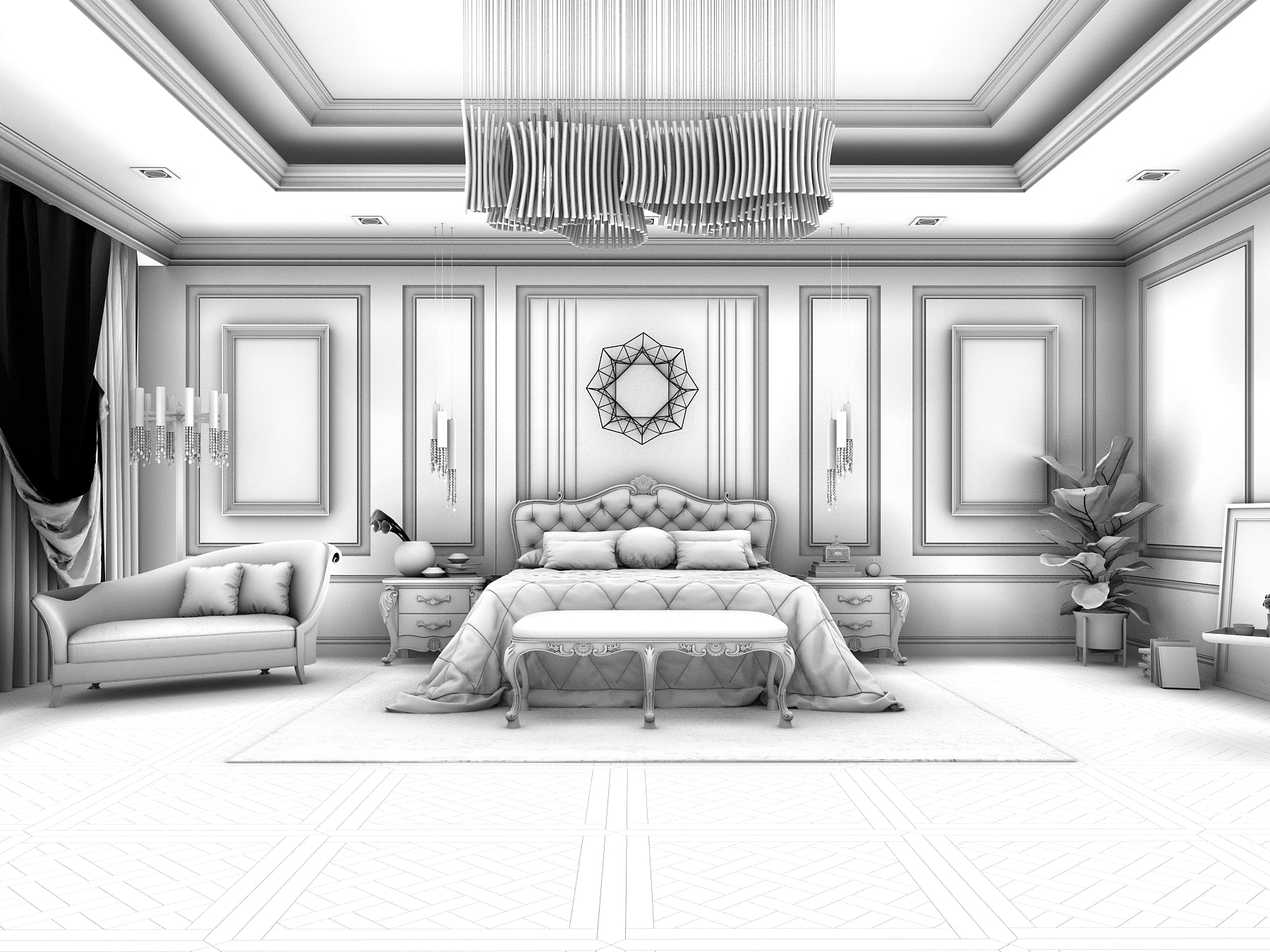 Realistic Classic Master Bedroom Design 3DS Max Model ... on Model Bedroom Ideas  id=75059