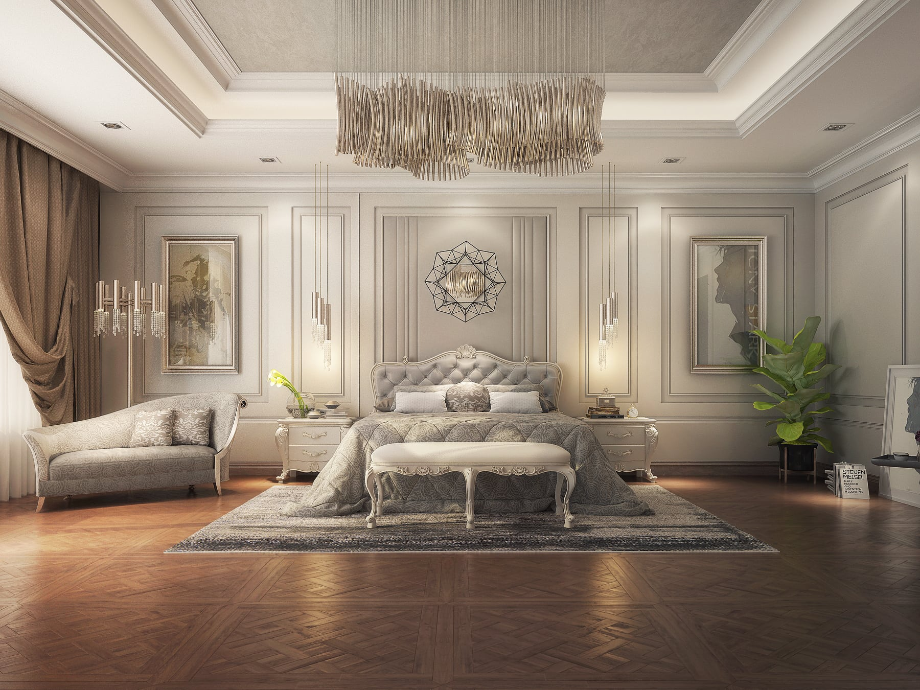 Realistic Classic Master Bedroom Design 3DS Max Model ... on Model Bedroom Ideas  id=33829