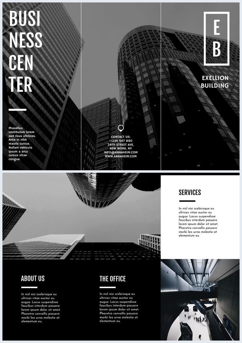 Black Amp White Trifold Business Brochure Template Flipsnack