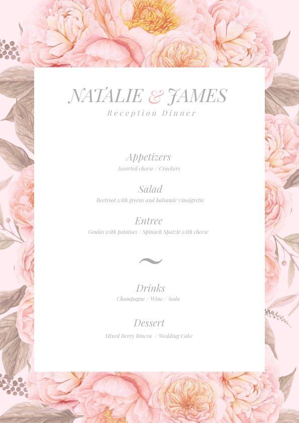 Pastel Pink Floral Wedding Menu Template Flipsnack