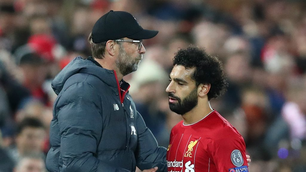 jurgen klopp and mohamed salah, liverpool, 2019-2020 season champions