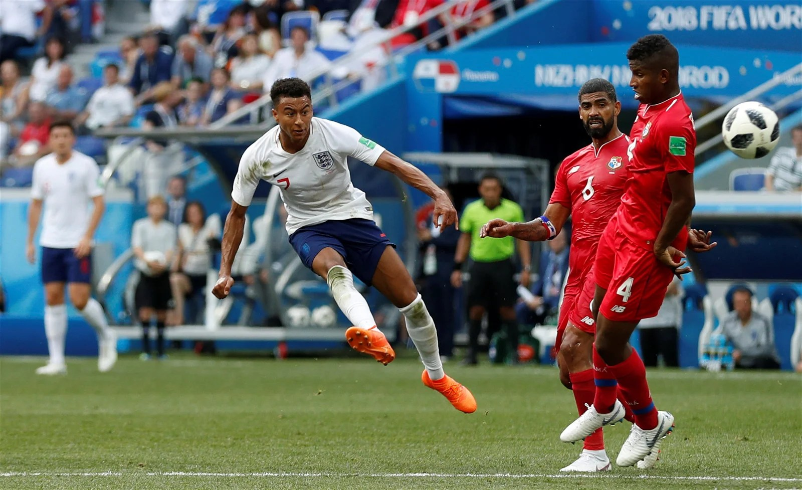 Jesse Lingard scores against Panama at the World Cup
