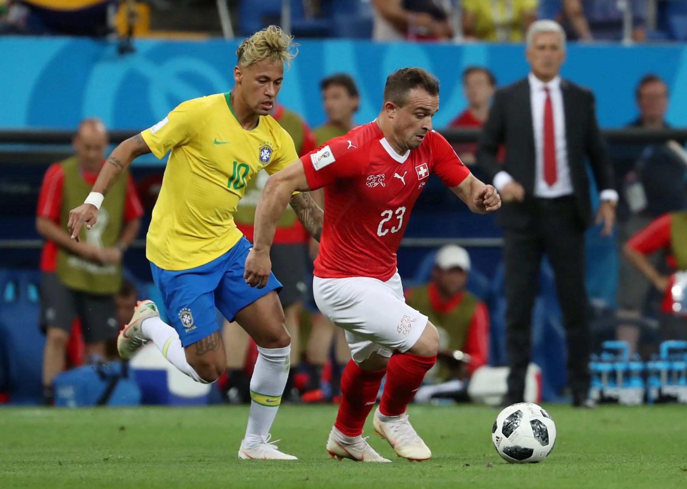 Xherdan Shaqiri in action with Neymar