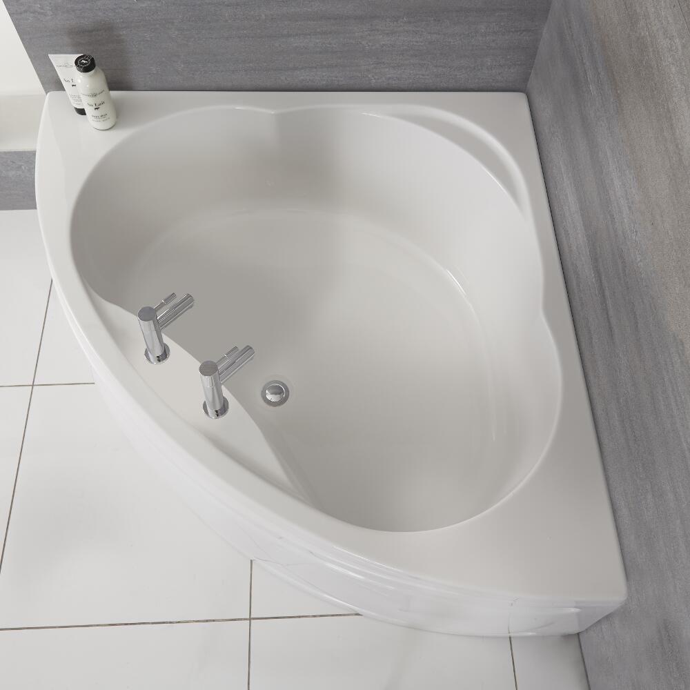 baignoire d angle moderne avec tablier blanc 120 cm x 120 cm belstone