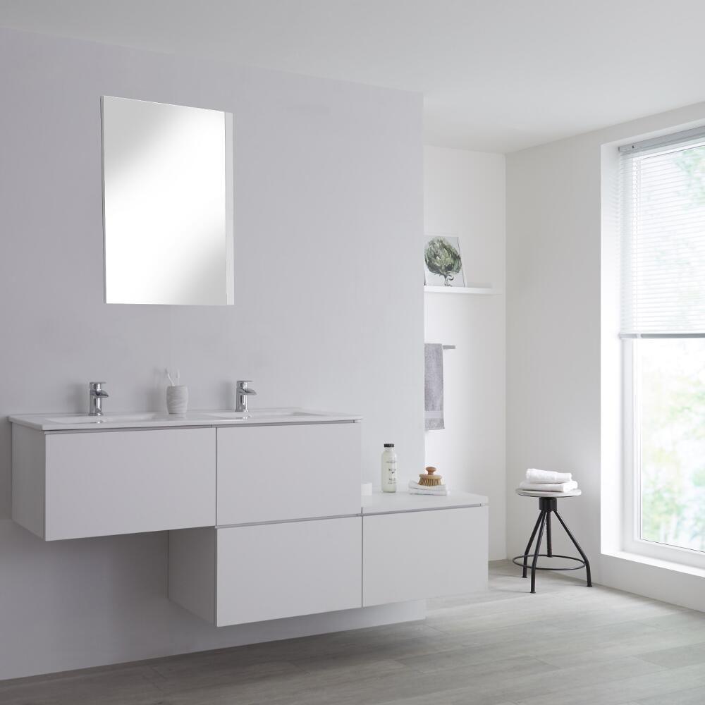 meuble double vasque suspendu asymetrique avec plan vasque blanc 180 cm newington